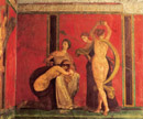 Pompeii travel - Pompeii: scene of the famous room in the villa of the Mysteries