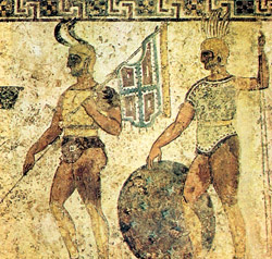Fresco kept in the Archaeological Museum of Naples: Samnite soldiers. The Samnites conquered Sorrento during the V century b.C.