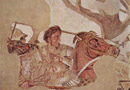Pompeii travel - Naples - Archaeological Museum: Mosaic detail of the battle between Alexander the Great and Darius of Persia