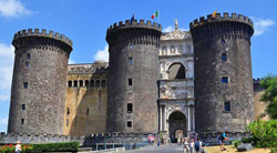 Sightseeing Naples Italy - The Castel Nuovo, one of the symbol of the town