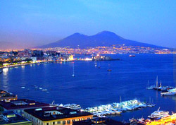 Sightseeing Naples Italy - Panoramic view of Naples and Vesuvius
